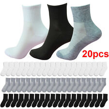 Men Cotton Socks Size 6-11 Sport Socks Black White Gray Socks 20 Pairs