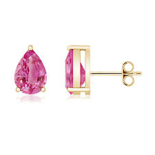 Three Prong Pear Shaped Pink Sapphire Stud Earrings 14K Yellow Gold Screw Back