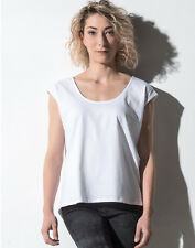NAKEDSHIRT LADIES TOP 100% SOFT COTTON BASIC STYLE T-SHIRT DEEP ROUND NECK LOOSE