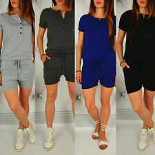 Summer Women Jumpsuits Short Sleeve V-neck Casual Hot Pants Shorts Rompers