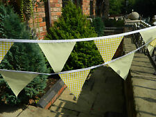 COLOURED FABRIC BUNTING, YELLOW  EASTER, CHRISTENING, BABY SHOWER, WEDDINGS