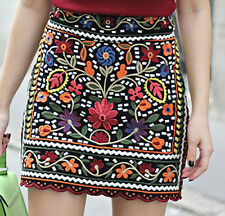 ZARA New Black Floral Boho Embroidered Mini Skirt Sold Out 6189/041 XS