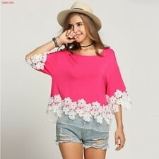 Plus Size Women Net Yarn 3/4 Batwing Sleeve Summer Casual Floral Lace Blouse