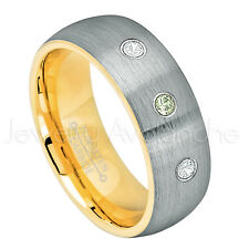 Tungsten Ring,0.21ctw Peridot & Diamond 3-Stone Ring,August Birthstone Ring #738