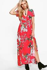 Boohoo Womens Francine Floral Detail Button Maxi Dress