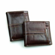 Retro Men's Genuine Leather Short Wallet Money Card Holder Coin ID Purse Bifold