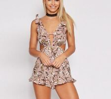 Women Floral Print Pattern Ruffle V Neck Backless Short Casual Jumpsuit
