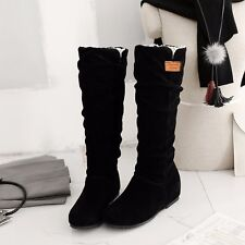 US Size 5-15 Fashion Womens Synthetic Suede Low Heels Wedges Solid Boots Shoes