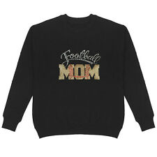 Football Mom Patch Rhinestone Sweatshirt Plus Size Bling Sport Cotton Handmade