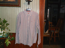 MENS BUTTON FRONT CHECK PLEAT BACK LS SHIRT SIZE M,L BY IZOD NWT