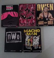 Lot of 5 WWE DVD Sets Bret Hart Owen Hart Macho Man Randy Savage nWo Dungeon WCW