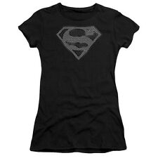 Superman CHAIN LINK Shield Licensed Juniors Cap Sleeve T-Shirt