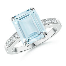 Natural Emerald Cut Aquamarine Cocktail Ring with Diamond Accent 14k White Gold
