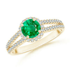 Natural Round Emerald Halo Ring with Diamond Accents 14K Yellow Gold Size 3-13