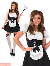 Ladies French Maid Costume Womens Cheeky Fraulein Fancy Dress Outfit + Duster