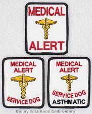 1 MEDICAL ALERT SERVICE DOG PATCH 2.5X3 IN Danny & LuAnns Embroidery assistance