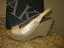 Anne Klein Fortuna Slingback Wedges  Gold Leather Upper New with Box