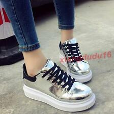 Womens Fashion Faux patent leather Round Toe Lace Up Sneaker Creeper Casual Shoe