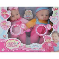SET OF 2 30CM SOFT BODY REAL LIFE DOLL BABY WITH SOUNDS GIRLS TOY GIFT XMAS NEW.