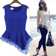 Blouse T-Shirt Women Summer Vest Irregular Sleeveless Tops 1 PCS Chiffon Frill