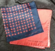 The black ears SILK gentleman's pocket square / hankerchief hand-rolled hem NEW
