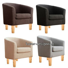 Modern Linen Fabric Occasional Chair Armchair Tub Barrel Sofa Lounge Hotel Room
