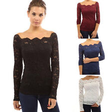 UK Womens Sexy Lace One Shoulder Long Sleeve T-Shirt Ladies Top Blouse Plus Size