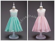 Flower Sweet Girls Chiffon Lace Sleeveless Wedding Party Kids Dresses Size 3-12