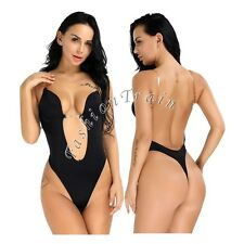 Sexy Women's Lady Deep V Bodysuit Thong Convertible Seamless U Plunge Body Suit