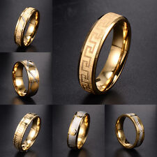 Vintage Mens Jewelry gold stainless steel Roman Numerals Mosaic Ring Size 8-12