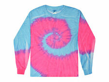 Flo Blue Pink Tie Dye T-Shirts Kids Youth XS - L Long Sleeve 100% Cotton