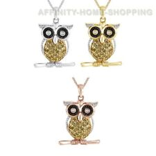 """1/10 Ct Round Natural Diamond 14K Gold Over Owl Pendant Necklace W/Chain 18"""""""