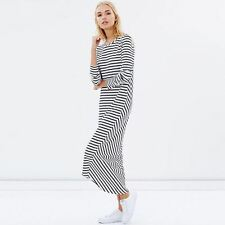 Casual Long Sleeve Stripes Pattern Round Collar Ankle Length Dress For Women