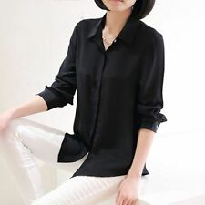 Women Long Sleeve Solid Color Office New Style Simple Button Shirt