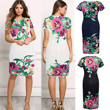 New Womens Ladies Floral Business OL Cocktail Party Bodycon Slim Pencil Dress