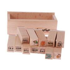 12 Pcs/Set Lovely Seal Stamp Wooden and Iron Box multipurpose Wood Rubber Stamp