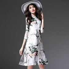 Women Vintage Floral Printed Single A-line Summer Casual Loose Dress