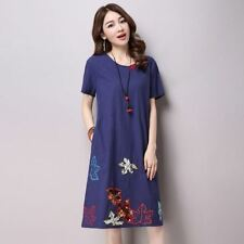 Fashion Embroidered Cotton Material Short Sleeve Knee Length Dress For Women