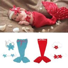 Infant Baby Photography Prop Crochet Mermaid Headband Bra Tail Clothing Set