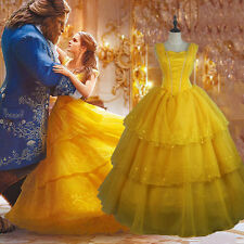 Adult Beauty and The Beast Princess Belle Cosplay Costume Ball Gown Fancy Dress&