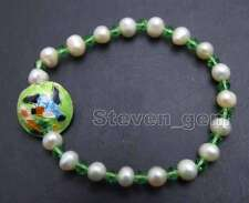 SALE 5-6mm White Round Pearl and Green crystal & Cloisonne 7.5'' Bracelet-bra389