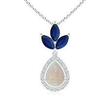 """Natural Pear Opal Diamond Halo Pendant Necklace with Marquise Sapphire 18"""" Chain"""