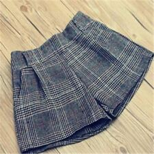 New Autumn Winter Woolen New Fashion Solid Colors Plaid Pattern Shorts for Women