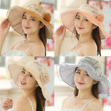 Women Beach Hat Lady Cap Wide Brim Fold Summer Sun Lace Flower Hat
