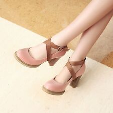 Womens Leather High Block Heels Platforms Strappy Round Toe Pumps Shoes Great!