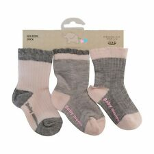 Baby girls socks  3 pairs pink & grey 90% Soft cotton 6 to 24 months