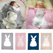 Infant Baby Knitting Wool Rabbit Bunny Blanket Crocheted Sofa Beach Quilt Rug