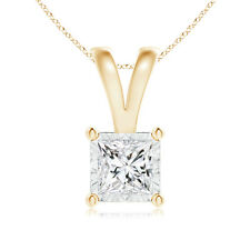 """Solitaire Princess-Cut Diamond Pendant Necklace with 14k Yellow Gold 18"""" Chain"""