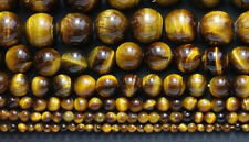 4mm-20mm Natural Gemstone Tiger's Eye Round loose beads 15 ""