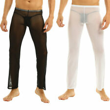 Sexy Men Soft Sheer See-through Mesh Lounge Underwear Yoga Pants Trousers S - XL